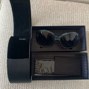 Authentic Prada sunglasses in original case and box with cards and cloth Blue